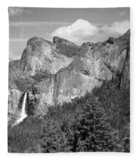 Bridalveil Falls From Tunnel View B And W Fleece Blanket