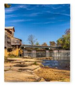 Bridge And Creek In The Fall Fleece Blanket