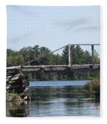 Bridge At Chub Fleece Blanket