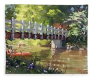 Bridge At Ellicott Creek Park Fleece Blanket