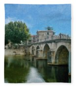 Bridge At Quissac - P4a16005 Fleece Blanket
