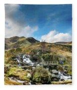 Bridge At Snowdonia Fleece Blanket