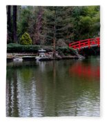 Bridge In Bamboo Garden Fleece Blanket