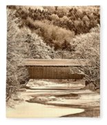 Bridge In Sepia Fleece Blanket