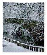 Bridge In Snow Fleece Blanket