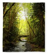 Bridge In The Rainforest Fleece Blanket