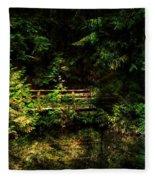 Bridge In The Woods Fleece Blanket