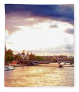 Bridge Of Alexandre IIi And Eiffel At Violet Sunset Fleece Blanket