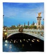 Bridge Of Alexandre IIi At Night Fleece Blanket