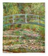 Bridge Over A Pond Of Water Lilies Fleece Blanket