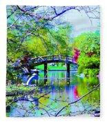 Bridge Over Peaceful Waters Fleece Blanket