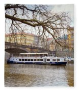 Bridge Over River Vltava Fleece Blanket