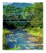 Bridge Over Tropical Dreams Fleece Blanket