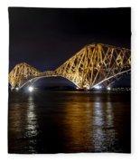 Bridge Over Water Lights. Fleece Blanket