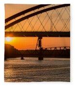 Bridge Sunrise And Boater Fleece Blanket