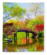 Bridge With Red Bushes In Spring Fleece Blanket