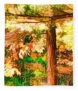 Bright Colored Leaves On The Branches In The Autumn Forest Fleece Blanket