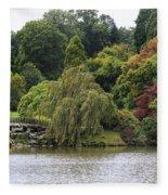 Bright Colors Of Autumn Trees On A Lake , Autumn Landscape. Fleece Blanket