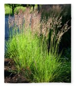 Bright Green Grass By The Pond Fleece Blanket