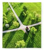 Bright Green Spring Meadow Aerial Photo Fleece Blanket
