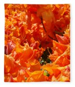 Bright Orange Rhodies Art Prints Canvas Rhododendons Baslee Troutman Fleece Blanket