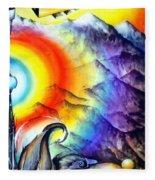 Bright Rainbow And Mountains. Cyborg's Land Fleece Blanket