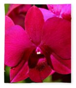 Bright Scarlet Red Orchid Fleece Blanket