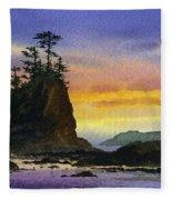 Bright Seacoast Sunset Fleece Blanket