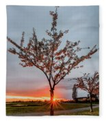 Bright Sun With Long Red Rays Shines Near The Trunk Fleece Blanket
