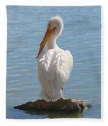 Bright White Pelican Fleece Blanket