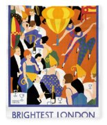 Brightest London Vintage Poster Restored Fleece Blanket