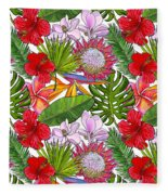 Brightly Colored Tropical Flowers And Ferns  Fleece Blanket