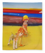 Brightly Painted Wooden Boats With Terrier And Friend Fleece Blanket