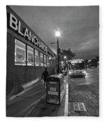 Brighton Ave Packard's Corner Allston Ma Sidewalk Black And White Fleece Blanket