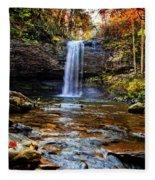 Brilliant Fall Waterfall At Cloudland Canyon Fleece Blanket