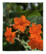 Brilliant Orange Tropical Flower Fleece Blanket