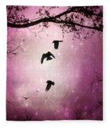 Brilliant Pink Surreal Sky Fleece Blanket