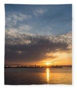 Brilliant Toronto Skyline Sunrise Over Lake Ontario Fleece Blanket