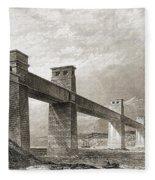 Britannia Bridge Across Menai Strait Fleece Blanket