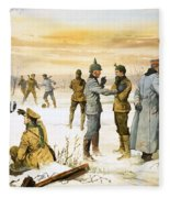 British And German Soldiers Hold A Christmas Truce During The Great War Fleece Blanket