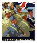British Empire Soldiers Together Fleece Blanket