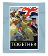 British Empire Soldiers Together Fleece Blanket