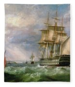 British Men-o'-war Sailing Into Cork Harbour  Fleece Blanket