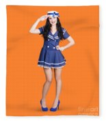 British Navy Blue Pin Up Girl Saluting Fleece Blanket