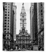 Broad Street At City Hall Fleece Blanket