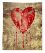 Broken And Bleeding Heart On The Wall Fleece Blanket