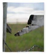 Broken Fence Stormy Skies Fleece Blanket