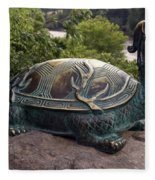 Bronze Turtle Dragon Sculpture Fleece Blanket