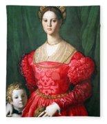 Bronzino's A Young Woman And Her Little Boy Fleece Blanket