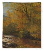 Brook In Woods Fleece Blanket